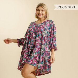 Umgee Plus Green Floral Button Babydoll Dress